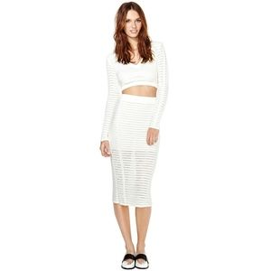 nasty gal • sweater knit ls crop top + midi skirt